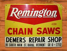 "TIN-UPS TIN SIGN ""Remington Chain Saws Repair Shop"" Vintage Rustic Wall Decor"