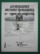 4/1984 PUB TRANSAMERICA AIRLINES SUPER HERCULES MESSAGERIES MILITAIRES FRENCH AD