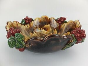 Vintage ST PETER GRAZ Made in Austria Majolica Large Fruit Bowl with Cherries