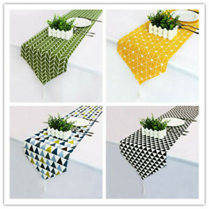 Cotton and Linen Table Runner Xmas Weeding Table Decor Family Meals Gatherings