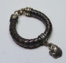 Auth Designer Kieselstein-Cord brown leather sterling woven bracelet frog charm