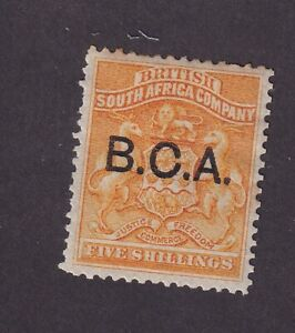 BRITISH CENTRAL AFRICA, SCOTT #12, 5 shillings YELLOW OVPT 1891-1895 MH