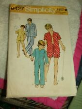 1974 Simplicity Pattern #6427 BOYS' & TEEN BOYS' PAJAMAS 2 Lengths Sz 10 & 12