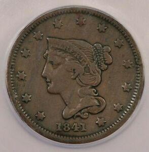 1841 Braided Hair Large Cent ICG F15