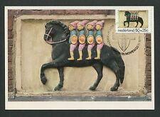 NIEDERLANDE MK 1975 FASSADEN-ZIERSTEINE PFERD HORSE CARTE MAXIMUM CARD MC d5770