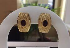 14k Solid Yellow Gold Oval Garnet Filigree Omega Back Earrings