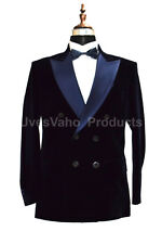 Hombre Azul Marino Terciopelo Chaqueta Blazers Diseñador Doble Cruzado Esmoquin