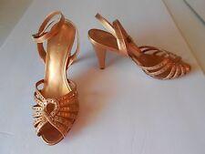 BCBG Max Azria Copper Metallic Studded Leather Peep Toe Strappy Heels 7.5 B