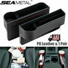 US 2X Car Seat Gap Catcher Filler Storage Box Pocket Organizer Holder PU SUV