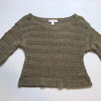 Decree Brown Stretchy Open Knit Loose Fit Sweater Top Size Small A589