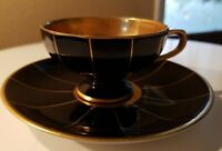Antique Bavaria Demitasse Tea Cup Saucer Hand Painted 22K Gold Black Panelled