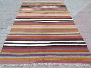 "Turkish Milas Kilim Rug, Striped Design Rug, Area Rugs, Carpet, Wool Rug 68x107"""