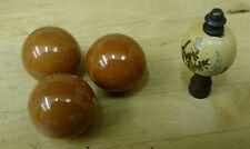 3 Vintage Butterscotch Porcelain Draw Cabinet Pulls &  Brass Painted Wood Final