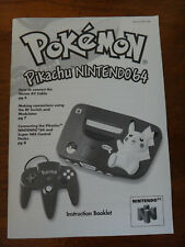 Nintendo 64 Pokemon Pikachu N64 Console Instruction Booklet Manual