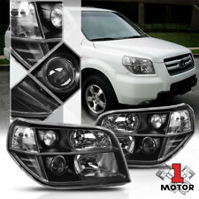 Black Housing Headlight Lamp Clear Turn Signal Reflector for 06-08 Honda Pilot