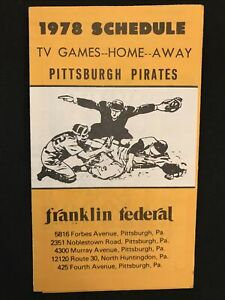 1978 Pittsburgh Pirates Franklin Federal Bank Pocket Baseball Schedule