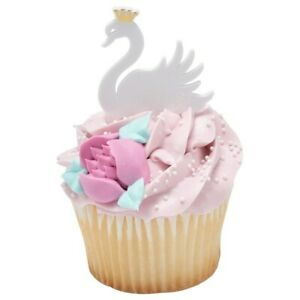 SWAN Princess Cupcake Toppers Picks Birthday Party Supplies 12 ct