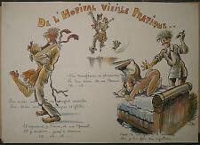 Aquarelle Humoristique Dessin Scène Érotique Hopital LUC BY Médecin Reims 1915