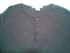 Perry Ellis Collarless Shirt Size S Small Brown Long Sleeve Cotton Blend