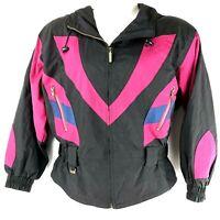 Ossi Womens Ski Jacket Size Large Black Pink White Stripe Zip Up Skiwear Hooded