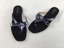Stuart Weitzman Arro Black Suede/Leather Thong Sandals Size 9M  K74/