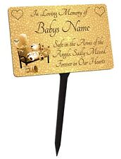 Personalised Baby - Child Memorial Plaque & Stake. For a Boy or Girl. Waterproof