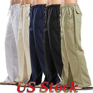 US Mens Elastic Waist Loose Baggy Pants Linen Pocket Casual Jogger Jog Trousers