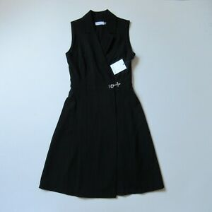 NWT Calvin Klein Sleeveless Collared Wrap in Black Clasp Fit & Flare Dress 4