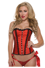 Starline Women's Rouched Front Corset, Side Zipper, Red, Medium