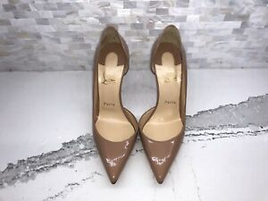 Authentic Christian Louboutin Iriza Patent NUDE Leather Pumps size 37.5