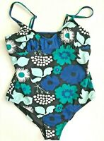Marimekko Target Womens L Swimsuit One Piece  Kukkatori Print Blue Floral