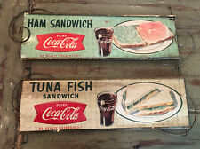 2VINTAGE Cardboard drink coca cola be really refreshed country store sign 22 X 7