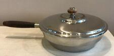 """Fry Saute Pan Wood Handle Ornate Lid Deep 9.5"""" Diameter 2.75"""" Deep"""