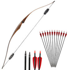"""20-35# 54"""" Traditional Hunting Recurve Bow Longbow & 6PCS Carbon Arrows Feathers"""