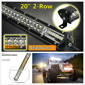 "Universal Car 20"" 12D 2-Row Spot Flood Combo Beam Waterproof LED Work Light Bar"