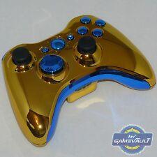Xbox 360 Wireless Controller officiel custom chrome gold & bleu envoi rapide
