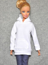 """Handmade doll clothes white hoodie for 12""""  barbie dolls"""