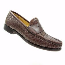 Cole Haan Womens 6 B Brown Woven Leather Penny Loafer Shoes F0102