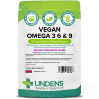 Lindens Vegan Omega 3 6 9 Flaxseed Oil 90 Capsules 1000mg Flax Seed