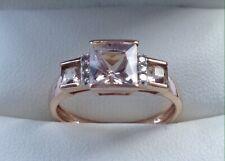 Ernest Jones 9ct Gold Morganite & Diamond Ring Size J