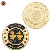 WR The Ducks Quack, Quack (2, 2) - Gold Casino Poker Cards Guard Protecter Chip