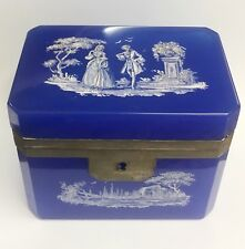 Antique Hand Painted Enamel French Blue Glass Hinged Box Jewelry Casket Opaline