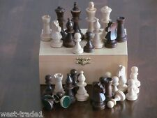 BRAND NEW ♚WEIGHTED STAUNTON TOURNAMENT  WOODEN CHESS PIECES WITH STORAGE BOX♞