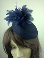 navy blue felt pillbox hat feather flower fascinator wedding bridal race vintage