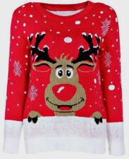 Mujer Navidad Rudolph el Reno Estampado y Manga Larga Jersey de Navidad Top 8-26