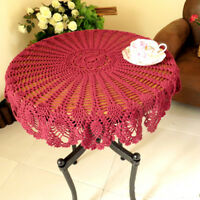 Pink Vintage Hand Crochet Lace Doily Round Table Topper 35inch Pineapple Pattern