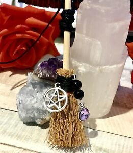 🖤 Besom Broomstick witch tourmaline Protection Pagan Wiccan broom mini gift 🖤