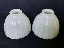 """2 Vintage Art Glass Shades White Milk Glass, Ribbed 2 1/4"""" Fitters, Ruffled Rims"""