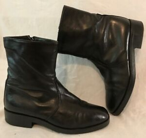 FRANK Black Mid Calf Leather Lovely Boots Size 8 (392v)