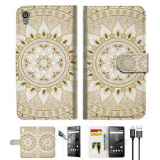 WHITE AZTEC TRIBAL Wallet TPU Case Cover For Sony Xperia Z5 Premium-- A006